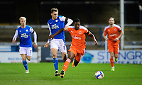 Blackpool's Sullay Kaikai vies for possession with Peterborough United's Jack Taylor<br /> <br /> Photographer Chris Vaughan/CameraSport<br /> <br /> The EFL Sky Bet League One - Peterborough United v Blackpool - Saturday 21st November 2020 - London Road Stadium - Peterborough<br /> <br /> World Copyright © 2020 CameraSport. All rights reserved. 43 Linden Ave. Countesthorpe. Leicester. England. LE8 5PG - Tel: +44 (0) 116 277 4147 - admin@camerasport.com - www.camerasport.com