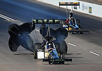 Oct. 15, 2011; Chandler, AZ, USA; NHRA top fuel dragster driver Del Worsham during qualifying at the Arizona Nationals at Firebird International Raceway. Mandatory Credit: Mark J. Rebilas-