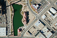 Vertical aerial of Lake Victoria on Pueblo's Riverwalk.