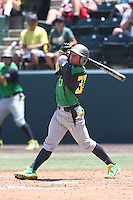 Mitchell Tolman #37 of the Oregon Ducks bats against the UCLA Bruins at Jackie Robinson Stadium on May 18, 2014 in Los Angeles, California. Oregon defeated UCLA, 5-4. (Larry Goren/Four Seam Images)
