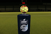 Match ball on the scooore super league podium pictured before a female soccer game between Oud Heverlee Leuven and Sporting de Charleroi on the seventh matchday of the 2020 - 2021 season of Belgian Womens Super League , sunday 15 th of November 2020  in Heverlee , Belgium . PHOTO SPORTPIX.BE | SPP | SEVIL OKTEM