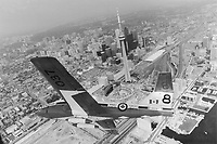 CNE performance: Snowbirds' Capt. Wesley MacKay, killed yesterday in a U.S. car crash, is shown here in his aircraft during a pre-show flight over Metro this summer.<br /> <br /> Photo : Boris Spremo - Toronto Star archives - AQP