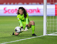 CARSON, CA - FEBRUARY 7: Emily Alvarado #12 of Mexico makes a save during a game between Mexico and USWNT at Dignity Health Sports Park on February 7, 2020 in Carson, California.