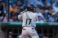 Johan Camargo (17) of the Gwinnett Stripers at bat against the Charlotte Knights at Truist Field on July 17, 2021 in Charlotte, North Carolina. (Brian Westerholt/Four Seam Images)