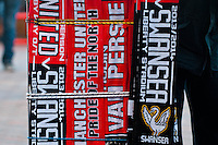 Saturday 11 January 2014 Pictured: Scarf and souvenir sellers outside Old Trafford ahead of Manchester United's clash with Swansea City <br /> Re: Barclays Premier League Manchester Utd v Swansea City FC  at Old Trafford, Manchester