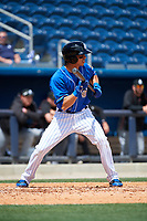 Biloxi Shuckers shortstop Mauricio Dubon (10) squares around to bunt during a game against the Jackson Generals on April 23, 2017 at MGM Park in Biloxi, Mississippi.  Biloxi defeated Jackson 3-2.  (Mike Janes/Four Seam Images)