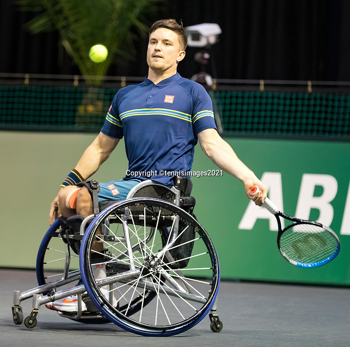 Rotterdam, The Netherlands, 6 march  2021, ABNAMRO World Tennis Tournament, Ahoy,  <br /> Semi final wheelchair: Gordon Reid (GBR).Photo: www.tennisimages.com/