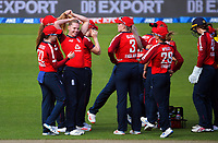England's Freya Davies celebrates dismissing Maddy Green for a duck during the 2nd international women's T20 cricket match between the New Zealand White Ferns and England at Sky Stadium in Wellington, New Zealand on Friday, 5 March 2021. Photo: Dave Lintott / lintottphoto.co.nz