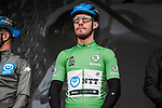 Giacomo Nizzolo (ITA) NTT Pro Cycling Team wearing the Green Jersey at sign on before Stage 3 of the 78th edition of Paris-Nice 2020, running 212.5km from Chalette-sur-Loing to La Chatre, France. 10th March 2020.<br /> Picture: ASO/Fabien Boukla | Cyclefile<br /> All photos usage must carry mandatory copyright credit (© Cyclefile | ASO/Fabien Boukla)