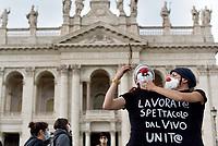 Lavoratrici e lavoratori dello spettacolo manifestano a San Giovanni