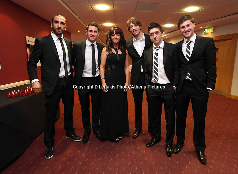 Pictured: Wednesday 10 April 2013<br /> Re: Swansea footballer Angel Rangel and wife Nicky's cancer charity fundraising dinner at the Liberty Stadium.<br /> Singer Shelley<br /> Chico Flores<br /> Ben Davies<br /> Pablo Hernandez<br /> Michu