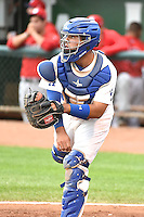 Julian Leon (34) of the Ogden Raptors during the game against the Orem Owlz in Pioneer League action at Lindquist Field on August 20, 2014 in Ogden, Utah.  (Stephen Smith/Four Seam Images)