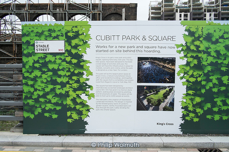 Cubbit Park & Square construction site on the former goods yard behind Kings Cross station, London.