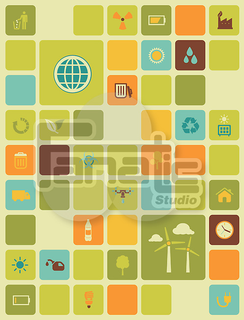 Illustration of environment conservation icons over colored background