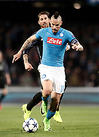 Football Soccer: UEFA Champions League Round of 16 second leg, Napoli-Real Madrid, San Paolo stadium, Naples, Italy, March 7, 2017. <br /> Napoli's Marek Hamsik (r) in action with Real Madrid's Sergio Ramos (l) during the Champions League football soccer match between Napoli and Real Madrid at the San Paolo stadium, 7 March 2017. <br /> Real Madrid won 3-1 to reach the quarter-finals.<br /> UPDATE IMAGES PRESS/Isabella Bonotto