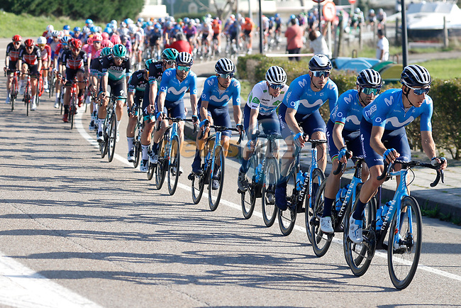 Movistar Team with Carlos Verona and Alejandro Valverde (ESP) lead the peloton during Stage 10 of the Vuelta Espana 2020 running 187.4km from Castro Urdiales to Suances, Spain. 30th October 2020.    <br /> Picture: Luis Angel Gomez/PhotoSportGomez | Cyclefile<br /> <br /> All photos usage must carry mandatory copyright credit (© Cyclefile | Luis Angel Gomez/PhotoSportGomez)