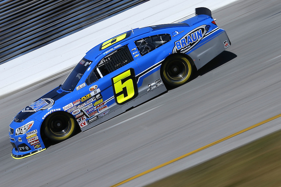 MOBILE, AL - MARCH 13: Justin Haley, driver of the #5 Braun Auto Chevrolet, races during parctice for the NASCAR K&N Pro Series East Mobile 150 on March 13, 2016 in Mobile, Alabama.  (Photo by Jonathan Bachman/NASCAR via Getty Images)
