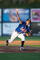 Danville Braves relief pitcher Dalton Carroll (53) delivers a pitch to the plate against the Kingsport Mets at American Legion Post 325 Field on July 9, 2016 in Danville, Virginia.  The Mets defeated the Braves 10-8.  (Brian Westerholt/Four Seam Images)