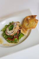 Europe/France/Provence-Alpes-Côte d'Azur/Vaucluse/Isle-sur-la-Sorgue:Rable de lapin ; salade de pois gourmands recette de Patrick Fischnaller  du restaurant: Le Vivier