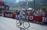 Fabio Aru (ITA/Astana) triumphs in this stage<br /> <br /> Giro d'Italia 2015<br /> stage 19: Gravellona Toce - Cervinia (236km)