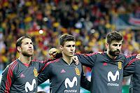Spain's Sergio Ramos, Kepa Arrizabalaga and Gerard Pique during international friendly match. November 11,2017.(ALTERPHOTOS/Acero)