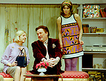 Black Comedy by Peter Shaffer, directed by Gregory Doran. With Nicola McAuliffe as Miss Furnival, Desmond Barrit as Harold Gorringe, Anna Chancellor as Carol Melkett. Opened at The Comedy Theatre 22/4/98. CREDIT Geraint Lewis
