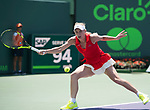 April 1 2017: Caroline Wozniacki (DEN) loses to Johanna Konta (GBR) 4-6, 3-6, at the Miami Open being played at Crandon Park Tennis Center in Miami, Key Biscayne, Florida. ©Karla Kinne/Tennisclix/Cal Sports Media