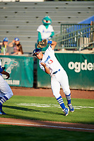 Luis Paz (13) of the Ogden Raptors on defense against the Orem Owlz in Pioneer League action at Lindquist Field on June 21, 2017 in Ogden, Utah. The Owlz defeated the Raptors 16-5. This was Opening Night at home for the Raptors.  (Stephen Smith/Four Seam Images)