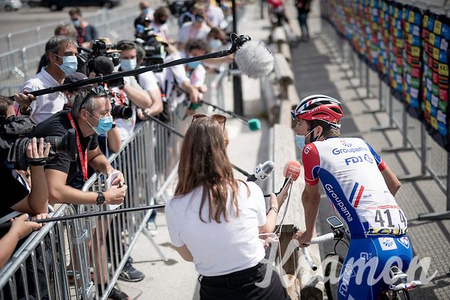 interviewing Thibaut Pinot (FRA/Groupama-FDJ) in 2020<br /> <br /> Stage 5: Megève to Megève (154km)<br /> 72st Critérium du Dauphiné 2020 (2.UWT)<br /> <br /> ©kramon