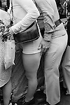 Girls wearing 'Hot Pants' stylish fashionable in the 1970s. Beauchamp Place Knightbridge London SW3 UK..