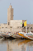 Senegal, Saint Louis.  Guet N'Dar Neighborhood, Fishing Boats Tied up along the Senegal River.
