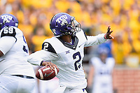 TCU running back Johnny Jefferson (2) throws a deep pass during an NCAA football game, Saturday, October 11, 2014 in Waco, Tex. Baylor defeated TCU 61-58 to remain undefeated in BIG 12 conference. (Mo Khursheed/TFV Media via AP Images)