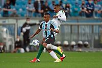 6th October 2021; Arena do Gremio, Porto Alegre, Brazil; Brazilian Serie A, Gremio versus Cuiaba; Jaminton Campaz of Gremio holds off Marllon of Cuiaba