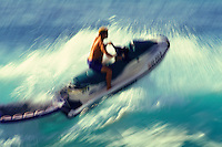 Jet ski used on the north shore to pull surfers to big waves or assist those in trouble