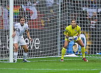 Heather O'Reilly, Hope Solo.  Japan won the FIFA Women's World Cup on penalty kicks after tying the United States, 2-2, in extra time at FIFA Women's World Cup Stadium in Frankfurt Germany.