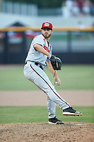 Carolina Mudcats relief pitcher Cody Beckman (34) in action against the Fayetteville Woodpeckers at SEGRA Stadium on May 18, 2019 in Fayetteville, North Carolina. The Mudcats defeated the Woodpeckers 6-4. (Brian Westerholt/Four Seam Images)