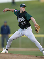 Michael Wood of the Modesto A's pitches during a California League 2002 season game against the High Desert Mavericks at Mavericks Stadium, in Adelanto, California. (Larry Goren/Four Seam Images)