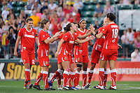 Yael Averbuch (18) of the Western New York Flash celebrates scoring with teammates during the penalty kick shootout. The Western New York Flash defeated the Philadelphia Independence 5-4 in a penalty kick shootout after playing to a 1-1 tie during the Women's Professional Soccer (WPS) Championship presented by Citi at Sahlen's Stadium in Rochester NY, on August 27, 2011.