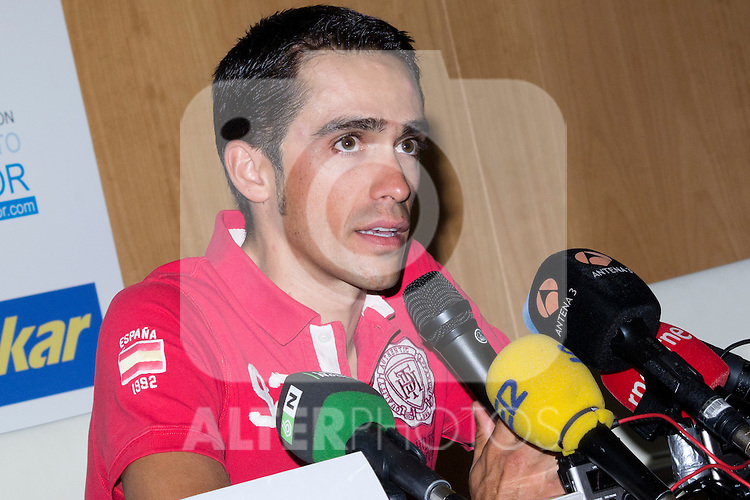 13.08.2012. The cyclist Alberto Contador presented at the Hotel Las Artes in Pinto charity campaign to collect bicycles for the Tour of Spain. In the image Alberto Contador (Alterphotos/Marta Gonzalez)