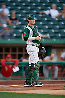 Fort Wayne TinCaps catcher Blake Hunt (12) during a Midwest League game against the Peoria Chiefs on July 17, 2019 at Parkview Field in Fort Wayne, Indiana.  Fort Wayne defeated Peoria 6-2.  (Mike Janes/Four Seam Images)