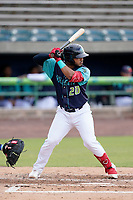 Catcher Andres Melendez (20) of the Lynchburg Hillcats in a game against the Delmarva Shorebirds on Wednesday, August 11, 2021, at Bank of the James Stadium in Lynchburg, Virginia. (Tom Priddy/Four Seam Images)