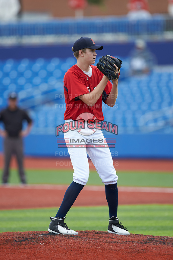 Carson Estridge (96) of Battlefield High School (VA) playing for the Red Sox scout team during game six of the South Atlantic Border Battle at Truist Point on September 27, 2020 in High Pont, NC. (Brian Westerholt/Four Seam Images)