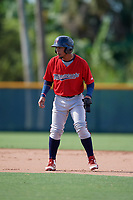 GCL Twins Jeferson Morales (2) leads off during a Gulf Coast League game against the GCL Pirates on August 6, 2019 at Pirate City in Bradenton, Florida.  GCL Twins defeated the GCL Pirates 4-2 in the first game of a doubleheader.  (Mike Janes/Four Seam Images)