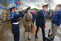 Pictured: Members of the ARmed Forces arrive for the service. Sunday 11 November 2018<br /> Re: Commemoration for the 100 years since the end of the First World War on Remembrance Day at the Swansea Cenotaph in south Wales, UK.