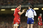 Wales captain Sam Warburton in conversation with Referee Jerome Garces.<br /> RBS 6 Nations 2014<br /> Wales v Scotland<br /> Millennium Stadium<br /> <br /> 15.03.14<br /> <br /> ©Steve Pope-SPORTINGWALES
