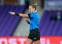 ORLANDO, FL - FEBRUARY 21: Referee Tori Penso makes a call during a game between Canada and Argentina at Exploria Stadium on February 21, 2021 in Orlando, Florida.