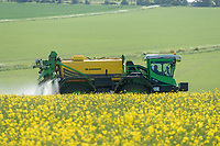 1.6-2021 Spraying oilseed rape on the Lincolnshire Wolds<br /> ©Tim Scrivener Photographer 07850 303986<br />      ....Covering Agriculture In The UK....