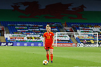 Rachel Rowe of Wales takes a free kick during the Women's International Friendly match between Wales and Denmark at the Cardiff City Stadium, Cardiff, Wales, UK. Tuesday 13 April 2021