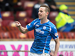 Motherwell v St Johnstone….07.05.16  Fir Park, Motherwell<br />Steven MacLean celebrates his goal<br />Picture by Graeme Hart.<br />Copyright Perthshire Picture Agency<br />Tel: 01738 623350  Mobile: 07990 594431
