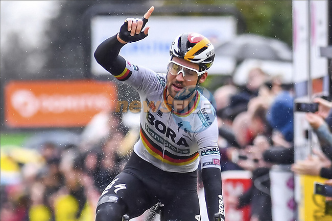German Champion Maximilian Schachmann (GER) Bora-Hansgrohe wins Stage 1 of the 78th edition of Paris-Nice 2020, running 154km from Plaisir to Plaisir, France. 8th March 2020.<br /> Picture: Bora-Hansgrohe/Nico Vereecken/PN/BettiniPhoto | Cyclefile<br /> All photos usage must carry mandatory copyright credit (© Cyclefile | Bora-Hansgrohe/Nico Vereecken/PN/BettiniPhoto)